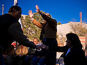 31 OCTOBER 2010 - WINDOW ROCK, AZ: Terry Goddard participates in a traditional Navajo blessing before the Democratic rally in Window Rock. Goddard, and the other Democrats on the statewide ticket, campaigned in Window Rock and Kingman on Halloween. Goddard ended the day with a press conference in front of the Executive Office Tower at the State Capitol in Phoenix. Goddard lost the election to sitting Governor Jan Brewer, a conservative Republican.     PHOTO BY JACK KURTZ