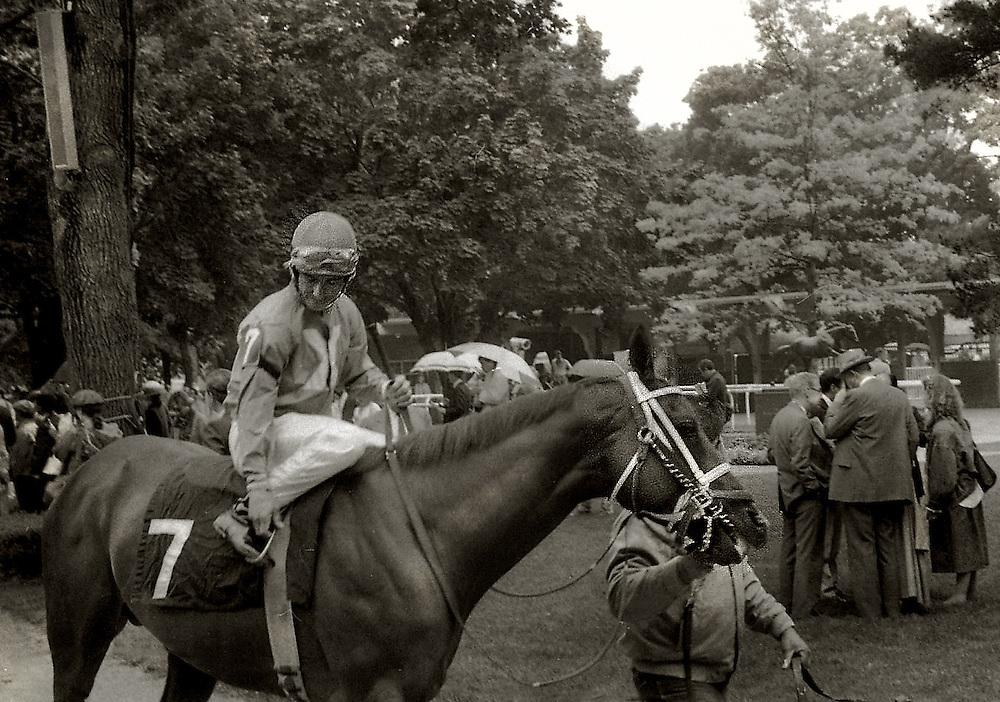 Paddock post parade for the Belmont Stakes with Kentucky Derby winner, Ferdinand, ridden by Hall of Fame jockey Willie Shoemaker.