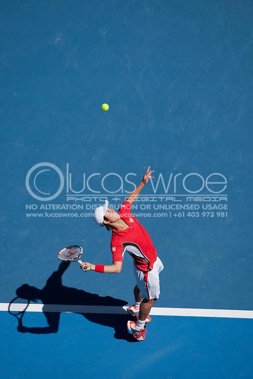 Kei Nishikori (JPN). 2012 Australian Open Tennis Championship. Mens Singles. Fourth Round. Hisense Arena, Melbourne and Olympic Parks, Melbourne, Victoria, Australia. 23/01/2012. Photo By Lucas Wroe
