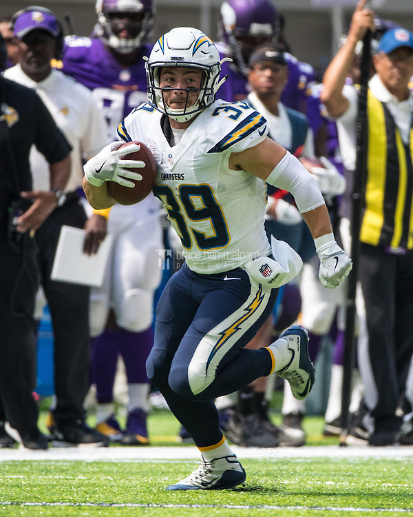 Aug 28, 2016; Minneapolis, MN, USA; San Diego Chargers running back Danny Woodhead (39) during a preseason game against the Minnesota Vikings at U.S. Bank Stadium. The Vikings defeated the Chargers 23-10. Mandatory Credit: Brace Hemmelgarn-USA TODAY Sports