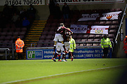 northampton players celebrate Northampton Town forward Marc Richards  goal during the Sky Bet League 2 match between Northampton Town and Yeovil Town at Sixfields Stadium, Northampton, England on 28 November 2015. Photo by Dennis Goodwin.