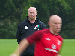CARDIFF, WALES - Saturday, September 8, 2012: Wales' assistant coach John Hartson during a training session at the Vale of Glamorgan ahead of the 2014 FIFA World Cup Brazil Qualifying Group A match against Serbia. (Pic by David Rawcliffe/Propaganda)
