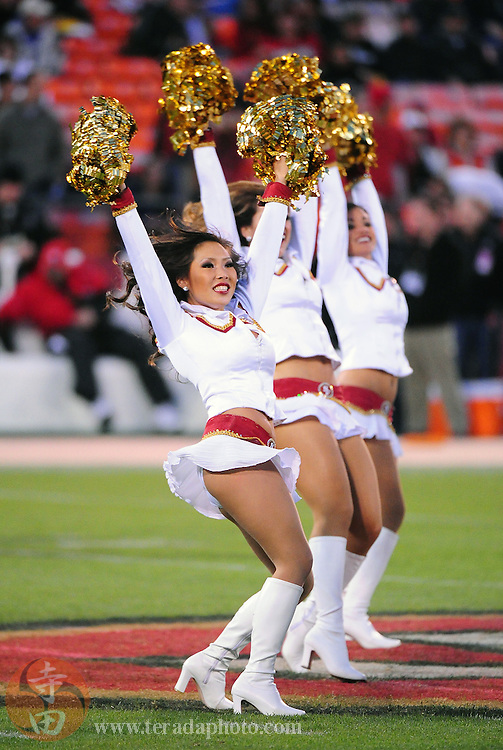 November 12, 2009; San Francisco, CA, USA; San Francisco 49ers Gold Rush cheerleader Chris Ryu performs before the game against the Chicago Bears at Candlestick Park. The 49ers defeated the Bears 10-6. Mandatory Credit: Kyle Terada-Terada Photo