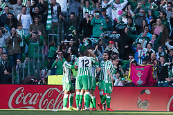 February 3, 2019 - Sevilla, Andalucia, Spain - Betis players celebrate the first goal from Real Betis  during the LaLiga match between Real Betis vs Atletico de Madrid at the Estadio Benito Villamarin in Sevilla, Spain. (Credit Image: © Javier MontañO/Pacific Press via ZUMA Wire)