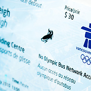 A ticket for the 2010 four man bobsleigh competition at the Olympics in Vancouver, Canada.