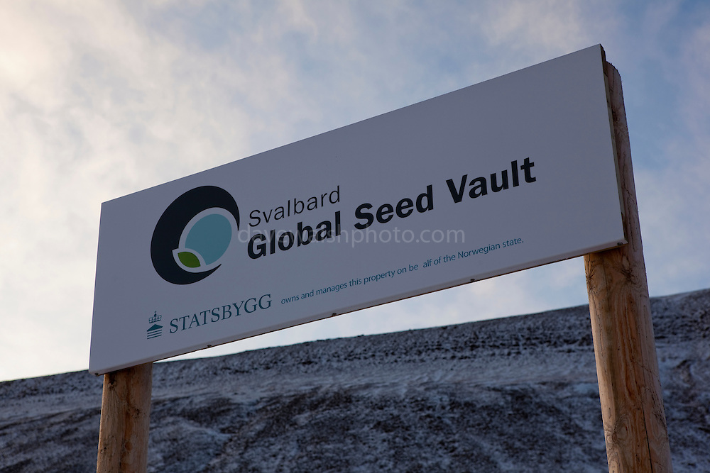 "Sign outside the Svalbard Global Seed Vault. Nestled into the rocky waste of plataberget Mountain about Svalbard's airport, the Global Seed Vault is at once startling and innocuous. Designed by architect Peter W. Søderman at Barlindhaug Consulting, this concrete, steel and glass structure is the first layer of security to a repository of millions of seeds from around the world, stored here in case of disaster, disease, or war...The Svalbard Global Seed Bank is situated 120 metres (390 ft) inside a sandstone.mountain at Longyearbyen on Spitsbergen Island, in the Svalbard archipelago about 1300km from the North Pole. Svalbard was considered ideal for the bank, due to low tectonic activity and its permafrost, which will aid preservation. Even if sea levels rise due to climate change - and the melting of ice caps, the seeds will be safe and dry , as they are stored at a location 130 metres (430 ft) above sea level. ..The Svalbard Global Seed Vault  provides a safety net against accidental loss of diversity from traditional storage within genebanks around the world, and has a capacity for 4.5 million seeds. Although the media has made much of the ""Doomsday Vault's"" role in providing security in the face of war or or catastrophe, the operators - the Norwegian government  and the Global Crop Diversity Trust and the Nordic Genetic Resource Center - say that it will be most useful when genebanks lose samples due to mismanagement, accident, equipment failures, funding cuts and natural disasters."