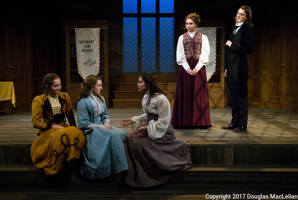 """CANADA, Windsor. February, 2017. University of Windsor University Players production of  """"Blue Stockings"""". Written by Jessica Swale. Directed by Lezlie Wade. Starring Meghan de Chastelaine as Tess Moffat, Eden Broda as Celia, Diana Ruffolo as Miss Blake, Keaton Kwok as Will, Katie Timms as Mrs. Walsh, Katie Timms as Maeve, J.D. Leslie as Miss Bott and Miss Lindley."""
