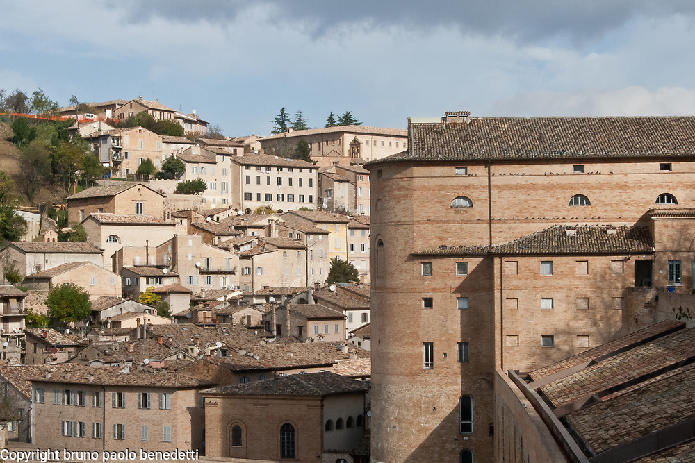 Urbino houses,castle and roofs, Italian town in Marche