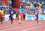 Alonso Edward (PAN), second from left, wins the 200m in 20.19 during the IAAF Continental Cup 2018 at Mestkey Stadion in Ostrava, Czech Republic, Saturday, Sept. 8, 2018. From left: Babaloki Thebe (BOT), Edward, Ramil Guliyev (TUR) and Yuki Koike (JPN). Jiro Mochizuki/IOS via AP)