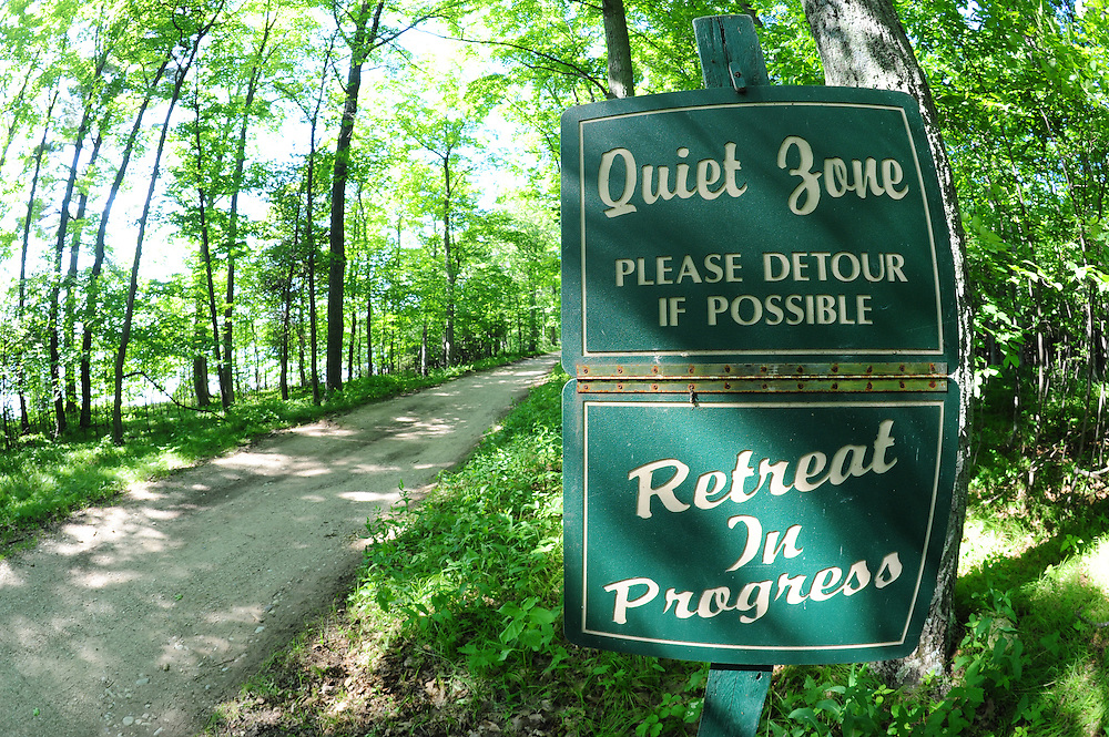 A road sign near Holy Name Retreat Center on Chambers Island, located in Door County. (Photo by Sam Lucero)