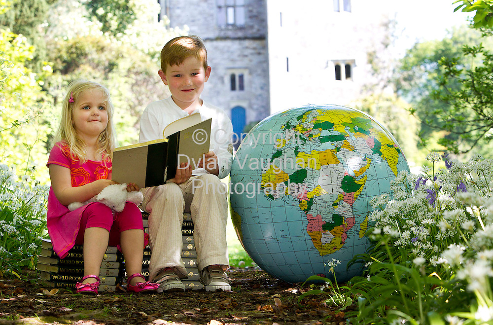 23/5/2010.Picture Courtesy of Immrama no charge for reproduction.Looking forward to tales of Exploration is Andrew Nolan aged 7 and Amelia Jane Willoughby aged 4 from Lismore pictured at Lismore Castle Gardens ahead of the Immrama Festival of Travel Writers' which will take place in Lismore from June 10 to 13. The festival will feature tales of exploration from world famous explorers and authors Sir Ranulph Fiennes, Tim Severin, Pico Iyer, Damien Lewis and Jan Morris. A traditional afternoon of free family fun in the town's scenic Millennium Park for all the family will also be on offer -.Photograph Dylan Vaughan.