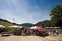 Spectators at winner ceremony at MTB Downhill European Championships, on June 14, 2009, at Kranjska Gora, Slovenia. (Photo by Vid Ponikvar / Sportida)
