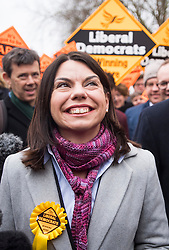 © Licensed to London News Pictures. 02/12/2016. London, UK. New MP for Richmond, SARAH OLNEY joins Liberal Democrat Leader TIM FARRON to celebrate their victory in the Richmond Park by-election. Zac Goldsmith resigned from the conservative party in order to force a by-election, in protest at government backing of the third runway at Heathrow airport. Photo credit: Ben Cawthra/LNP