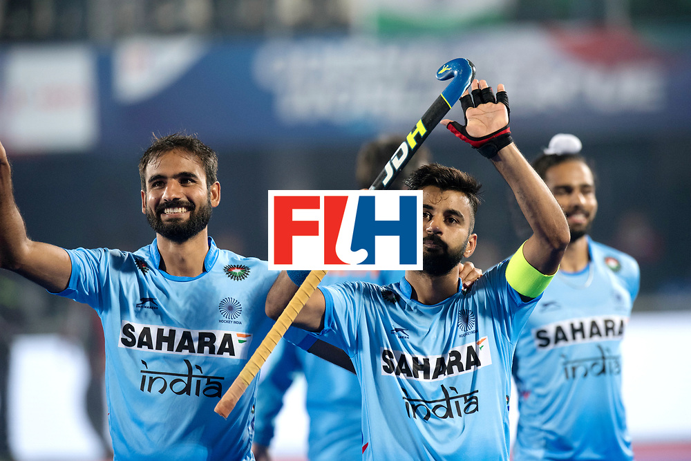 Odisha Men's Hockey World League Final Bhubaneswar 2017<br /> Match id:13<br /> Belgium v India<br /> Foto: India wins shoot out and play in the semi, Manpreet Singh (Ind) celebrate and thanks the ordians.<br /> COPYRIGHT WORLDSPORTPICS FRANK UIJLENBROEK