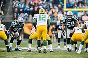 December 17, 2017: Carolina Panthers vs the Greenbay Packers. Aaron Rodgers, QB for the Greenbay Packers