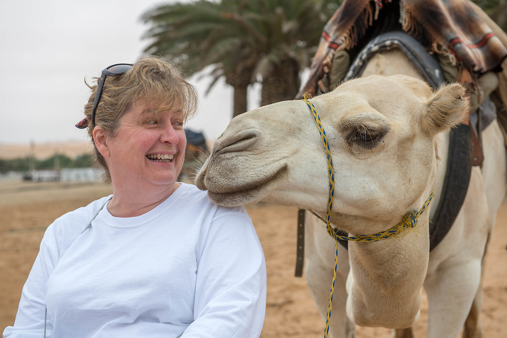 Tourist smiling and interacting with a camel in the Namib desert, located in Namibia, Africa.
