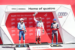 19.03.2017, Aspen, USA, FIS Weltcup Ski Alpin, Finale 2017, Slalom, Herren, Siegerehrung, im Bild Henrik Kristoffersen (NOR, zweiter Platz slalom und dritter Platz gesamt Weltcup), Marcel Hirscher (AUT, Slalom Riesenslalom und Gesamt Weltcup Sieger), Manfred Mölgg (3. Platz Slalom Weltcup) // second placed slalom and third placed over all world cup Henrik Kristoffersen of Norway, over all world cup winner ans Slalom and Giantslalom world cup winner Marcel Hirscher of Austria, third placed Slalom World cup Manfred Moelgg of Italy during the winner award ceremony for the men's Slalom of 2017 FIS ski alpine world cup finals. Aspen, United Staates on 2017/03/19. EXPA Pictures © 2017, PhotoCredit: EXPA/ Erich Spiess