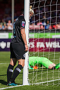 Bethany England (Chelsea) disappointed with the save from Megan Walsh (GK) (Brighton) during the FA Women's Super League match between Brighton and Hove Albion Women and Chelsea at The People's Pension Stadium, Crawley, England on 15 September 2019.