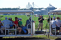 Northeast AgExpo attendees listen to Crop and Soil Science faculty member Carl Crozier while touring soy bean fields.