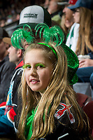 KELOWNA, CANADA - MARCH 18: A young fan celebrates St. Patrick's Day at the Kelowna Rockets against the Vancouver Giants  on March 1, 2018 at Prospera Place in Kelowna, British Columbia, Canada.  (Photo by Marissa Baecker/Shoot the Breeze)  *** Local Caption ***