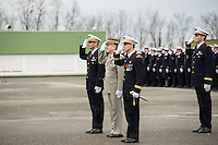 LYON, FRANCE - DECEMBER 10: General Thierry Duquenoy, General Christian Peraldi and Colonel Etienne Gourdain attend the 40th anniversary of Base Aerienne 942 at the NATO base shelters the Headquarters Air Defense Command and the French National Centre for Air Operations on December 10, 2014 in Lyon, France. (Photo by Bruno Vigneron/Getty Images)