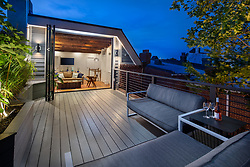 416 T Street Kitchen,Exterior deck at twilight