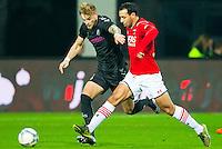ALKMAAR - 19-12-2015, AZ - FC Utrecht, AFAS Stadion, 2-2, FC Utrecht speler Timo Letschert, AZ speler Mounir El Hamdaoui