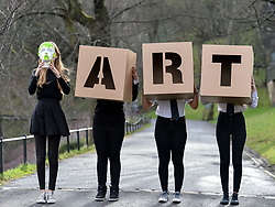Pictured: Charly Miller, holding a painted head design and fellow an S5 pupils Momina Younis, Sophia Somerville and Neva Houston all from Drummond Community High School holding giant ART letters which forms part of the exhibition<br /> <br /> 'The Art of the Future' was an ambitious project that asked young people across Scotland what they thought the art of the future was. The results are in a display opening at the Scottish National Gallery in Edinburgh this week.<br /> <br /> &copy; Dave Johnston / EEm