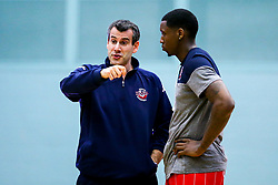 Bristol Flyers head coach, Andreas Kapoulas speaks with Fred Thomas of Bristol Flyers - Mandatory by-line: Robbie Stephenson/JMP - 05/10/2018 - BASKETBALL - University of Worcester Arena - Worcester, England - Bristol Flyers v Worcester Wolves - British Basketball League
