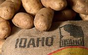 Idaho. Famous Potatoes and vintage burlap sack.
