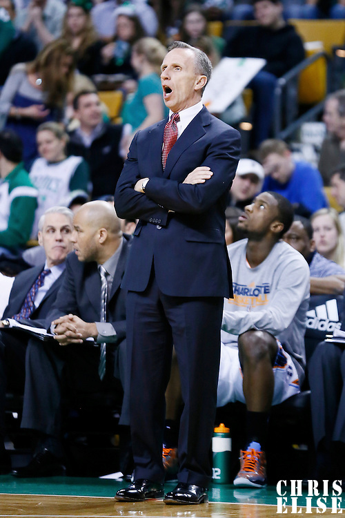 16 March 2013: Charlotte Bobcats head coach Mike Dunlap is seen during the Boston Celtics 105-88 victory over the Charlotte Bobcats at the TD Garden, Boston, Massachusetts, USA.