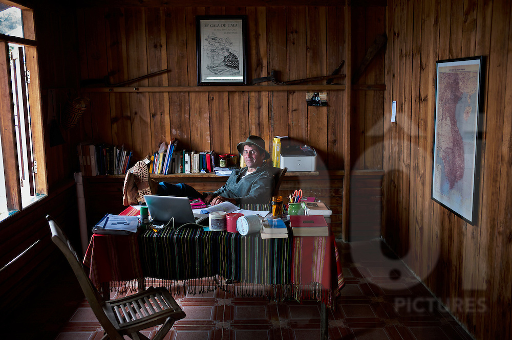 Pierre Morere in his office within the village of Da Sar. Pierre Morere is the owner of Jangala, a socially oriented coffee business based in Bidoup Nui Ba National Park, Dalat, Lam Dong Province, Vietnam, Southeast Asia