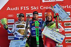 19.01.2019, Idre Fjall, Idre, SWE, FIS Weltcup Ski Cross, Siegerehrung, im Bild Midol Bastien (FRA), Fiva Alex (SUI), Traxler Daniel (AUT) // during the winner Ceremony of the FIS Ski Cross World Cup at the Idre Fjall in Idre, Sweden on 2019/01/19. EXPA Pictures © 2019, PhotoCredit: EXPA/ Nisse Schmidt<br /> <br /> *****ATTENTION - OUT of SWE*****