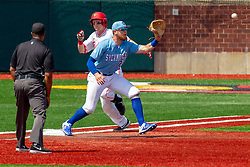 NORMAL, IL - May 01: Wayne Harris watches runner JOE AEILTS coming to 1st with the ball coming in to Dane Tofteland during a college baseball game between the ISU Redbirds and the Indiana State Sycamores on May 01 2019 at Duffy Bass Field in Normal, IL. (Photo by Alan Look)