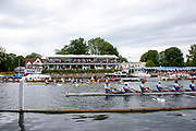 Henley on Thames, England, United Kingdom 6th July 2019, Semi Final, Temple Challenge Cup, Northeastern University, holds a lead over Newcastle Univesity as both crews pass Phyliss Court, Henley Royal Regatta  on Henley Reach, [© Peter SPURRIER/Intersport Image]<br />