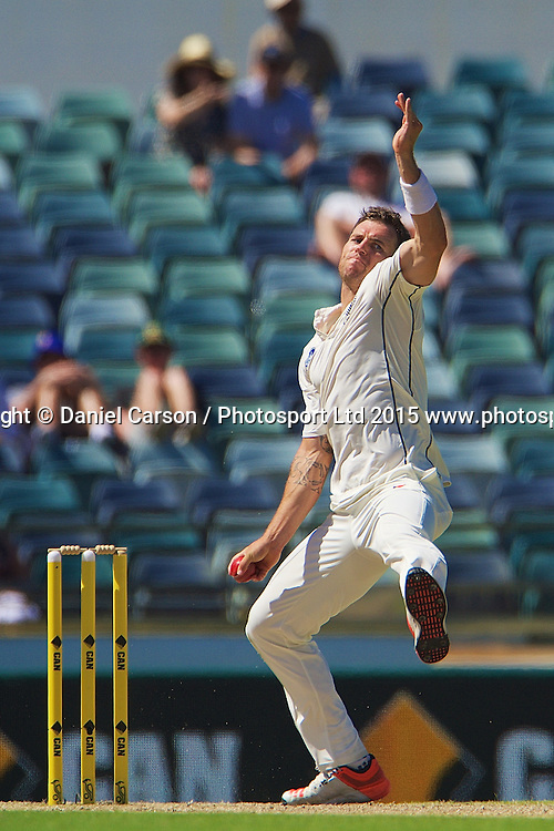 Doug Bracewell of the New Zealand Black Caps bowls during Day 4 on the 16th of November 2015. The New Zealand Black Caps tour of Australia, 2nd test at the WACA ground in Perth, 13 - 17th of November 2015.   Photo: Daniel Carson / www.photosport.nz