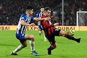 Ryan Fraser (24) of AFC Bournemouth battles for possession with Steven Alzate (46) of Brighton and Hove Albion during the Premier League match between Bournemouth and Brighton and Hove Albion at the Vitality Stadium, Bournemouth, England on 21 January 2020.