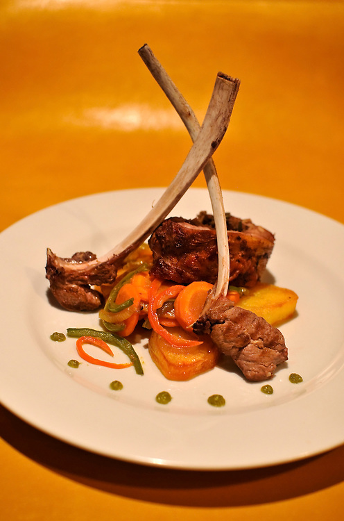 Lamb and glazed vegetables for dinner at Bahia Bustamante in Patagonia, Argentina. The lamb came from the ranch as was raised organically.