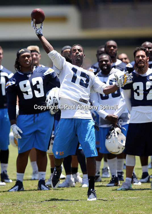 San Diego Chargers wide receiver Dontrelle Inman (15) throws a pass during the San Diego Chargers Spring 2015 NFL minicamp practice on Wednesday, June 17, 2015 in San Diego. (©Paul Anthony Spinelli)