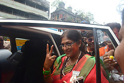 May 23, 2019 - Kolkata, West bengal, India - BJP leader Roopa Ganguly shows victory sign after BJP's election result at West Bengal (Credit Image: © Sumit Sanyal/ZUMA Wire)