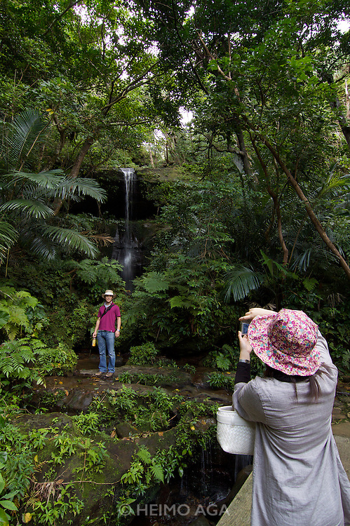 Iriomote-jima. Tourists exploring the forests along Urauchi-gawa (river). Taking souvenir photo at a little waterfall.