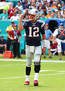 Sep 15, 2019; Miami Gardens, FL, USA;  New England Patriots quarterback Tom Brady (12) pumps his fist and celebrates a rushing touchdown by running back Sony Michele (26) during an NFL game against the Miami Dolphins at Hard Rock Stadium in Miami Gardens, FL. The Patriots beat the Dolphins 43-0. (Steve Jacobson/Image of Sport)