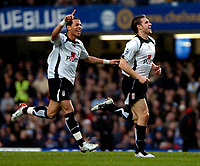 Photo: Ed Godden.<br />Chelsea v Fulham. The Barclays Premiership. 30/12/2006.<br />Fulham's Moritz Volz (R) celebrates his goal to make it 1-0.
