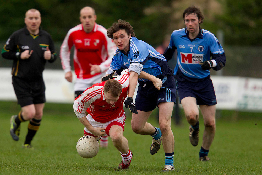 Division 2 Football at Simonstown GFC, 26/02/2012.Simonstown vs Ballinlough.Ciaran Kenny (Simonstown) & Ronan McGuinness (Ballinlough).Photo: David Mullen / www.cyberimages.net © 2011