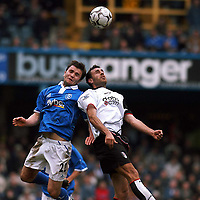 PHOTO:Alan Crowhurst.Digitalsport<br /> FULHAM V BIRMINGHAM,Barclaycard Premiership,<br /> 03/04/2004.DAMIEN JOHNSON AND SYLVAIN LEGWINSKI CONTEST FOR THE BALL.