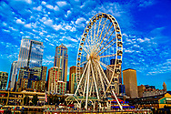 downtown Seattle and Great Wheel