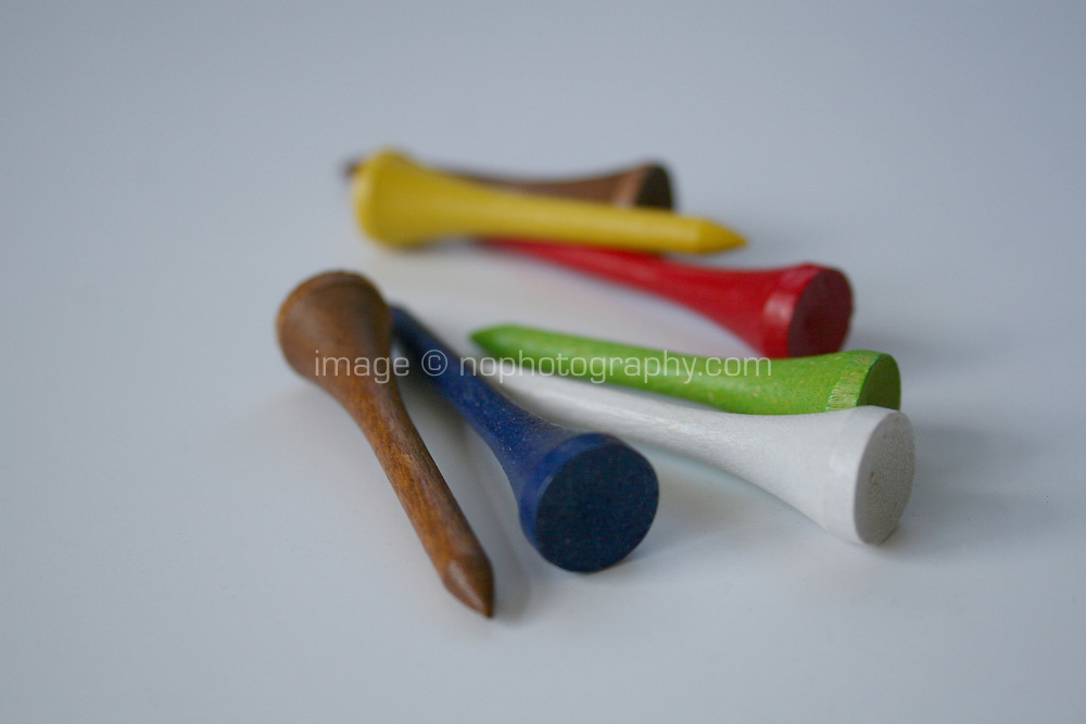 multi-coloured golf tees