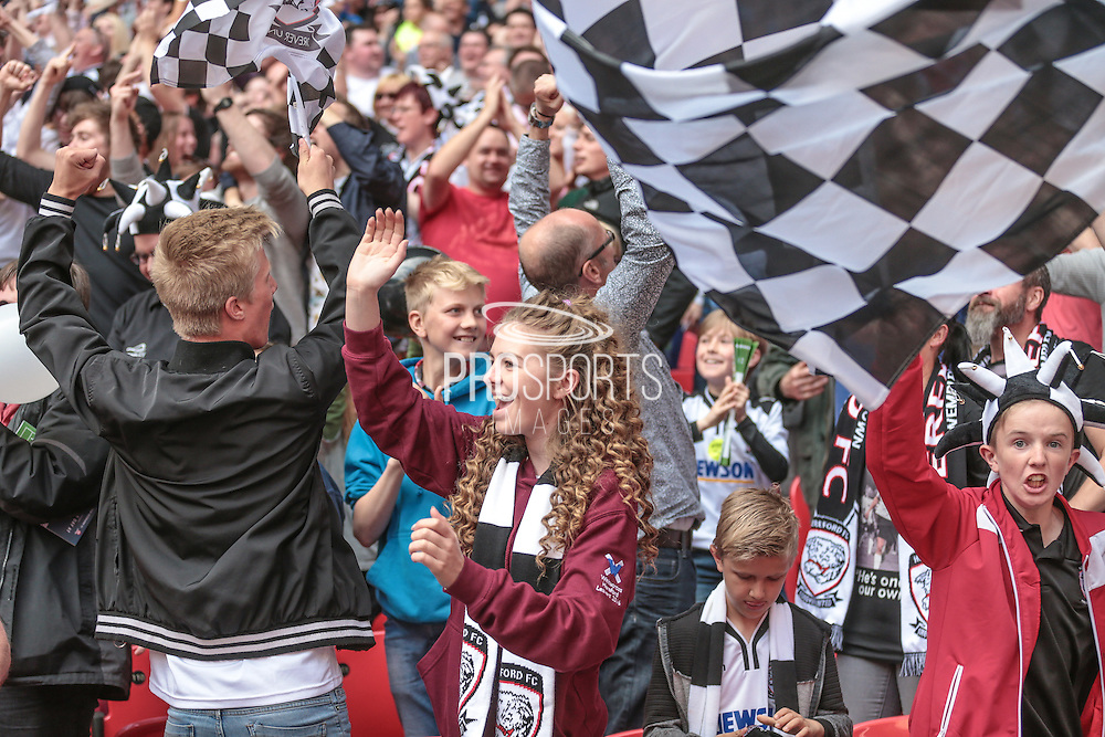 Hereford fans celebrate as they take the lead, 1-0 during the FA Vase match between Hereford and Morpeth Town at Wembley Stadium, London, England on 22 May 2016. Photo by Mark Doherty.