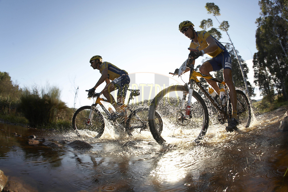 WESTERN CAPE, SOUTH AFRICA -  3 April 2008, Mannie Heymans and Ben-Melt Swanepoel of MTN 2 during stage six of the 2008 Absa Cape Epic Mountain Bike stage race from Bredasdorp Municipal Sports Grounds in Bredasdorp to Hermanus Old Harbour, Hermanus in the Western Cape, South Africa..Photo by Gary Perkin/SPORTZPICS