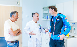 02.05.2016, Bezirkskrankenhaus, St. Johann i.T., AUT, OeSV, Skisprung, Sportmedizinische Untersuchung, im Bild v.l.: UNIV. DOZ. DR. Peter Baumgartl, Prim. Dr. Kaiser Norbert , Cheftrainer Heinz Kuttin (AUT) // f.l.: Prim. Dr. Kaiser Norbert, UNIV. DOZ. DR. Peter Baumgartl, Headcoach Heinz Kuttin of Austria during the medical examination of the Austrian Skijumping Team at the Sports Medicine Institute, St. Johann i.T. on 2016/05/02. EXPA Pictures © 2016, PhotoCredit: EXPA/ JFK